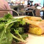 salmon wrap with scrambled eggs