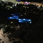 view froom our room at night of pools