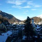 Blick aus dem Fenster Hotel Schweizer Hof früh am Morgen