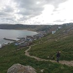 View of Sennen Cove from costal path to Lands End