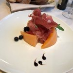 My starter of palma ham and melon in the Ambrosia restaurant