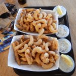 Fried shrimps and condiments