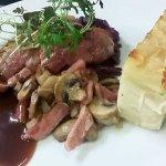 Beef bourguignon, bacon, mushrooms, Dauphinoise potatoes, red wine jus