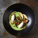 Wild Mushroom Tortellini. Panfried Mushrooms , Pea Cream, Pancetta, Baby Marrow & Ricotta Mousse