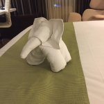 Towel created in the shape of an elephant
