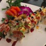 Hastings roll and salmon sashimi