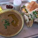 Tuna sandwich and lentil soup