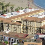La Casa Azul (bottom-left) and beach - picture taken from the Castle