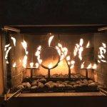 LOVE the fireplace! BURNING L-O-V-E!