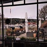 Flott utsikt mot hagen og båthavnen