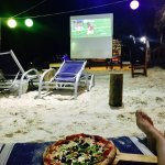 Watching the Super Bowl on the beach in Roatan