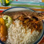 Fried Snapper with rice and Plantain