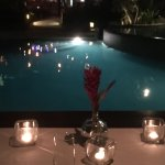Wedding dinner over the pool