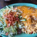 """White"" Chicken Enchilada with tostada"
