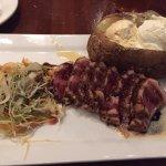 tuna au poivre with Asian slaw and a fine baked potato