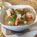 A special Tom Yum style soup with prawns, lemongrass, chilli and coconut milk. Delicious fresh f