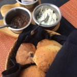 Bread with chipotle sauce and poblano cream cheese sauce