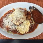 Chicken Parmigiana with extra sauce (peppered and more Parmesan!)