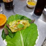 ...and add herbs and veg's etc. Roll it with a gabbage leaf, dip with the fish sauce. Brilliant