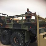 Standing on top of an Infantry Transport Vehicle.