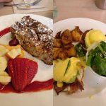 Berry bread pudding and brie, avocado, bacon eggs Benedict