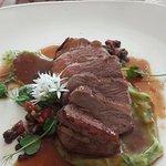 Arni Psito (the roast lamb rump with wild garlic scordalia, lentil and rhubarb salsa). Was so ta