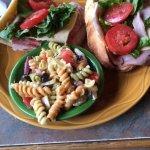 Italian sub with pasta salad