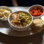 Chicken & Limas, Tuesday's special, with glazed carrots & mac & cheese