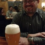 Claus enjoys a well poured Weihenstephaner at Redlefsen's