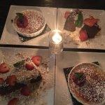 WARM BUTTERMILK GLAZED CARROT CAKE & WHITE CHOCOLATE RASPBERRY CRÈME BRULEE