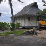 Construction in front of our bungalow.