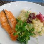 Salmon with Slovenian potato salad.