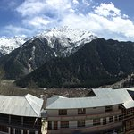 View of Sangla valley from the top floor balcony of the room.