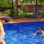 Enjoying the solar heated salt water pool