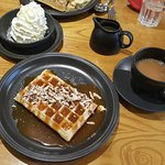 pecan nut waffle with butterscotch sauce