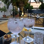Terrace bar at the hotel Monastery de San Francisco ... Strawberry Gin and 7 up , very nice