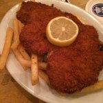 Chicken schnitzel and fries, delicious