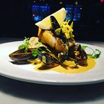 Pan Fried Fillet of Stone Bass Curry Madras Leek Mussels Rogout