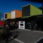 Colourful array of shipping container shops