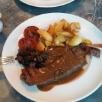 Sirloin steak port and mushroom sauce