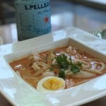 Katong Laksa, Vegetable Spring Rolls, and Pot Stickers