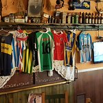 On back room seating area, soccer jerseys collectiom