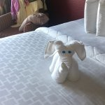 Sunrise of balcony every morning and cute animals for turn down service each night