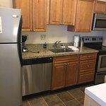 Nice full kitchen, bathroom with separate vanity area, plenty of towels. Clean and comfortable b