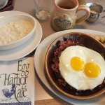 Corn beef, eggs, and grits!