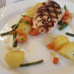 Lemon and garlic chicken, baby potato, green bean and cherry tomato salad, lemon dressing