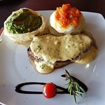 Old man steak, mustard sauce, mashed potato and creamed spinach phyllo pastry basket