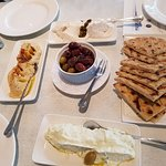 Appetizers - Tsatsiki, hummus, taramasalata, olives and pita bread