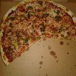 Italian sausage, mushroom and green pepper pizza