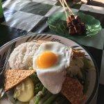 Gado gado, special rice and chicken satey